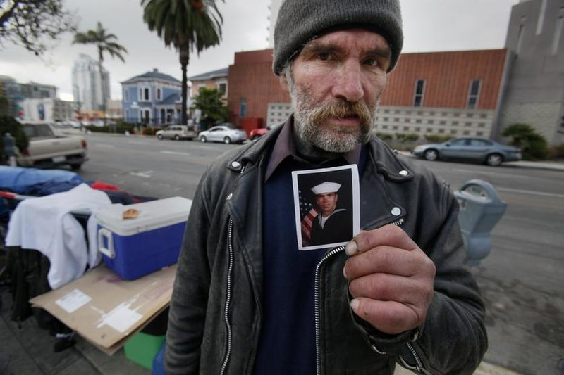 A homeless veteran displays his service photo at a recent 'Stand Down' event. Read more: San Diego Community News Group - Helping La Jolla vets transition off the streets